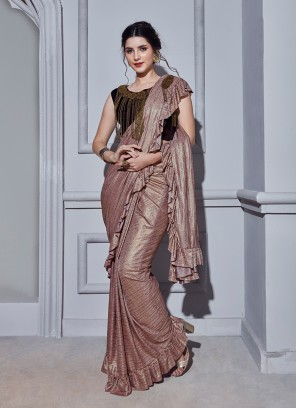 Peach Fancy Fabric Classic Designer Saree