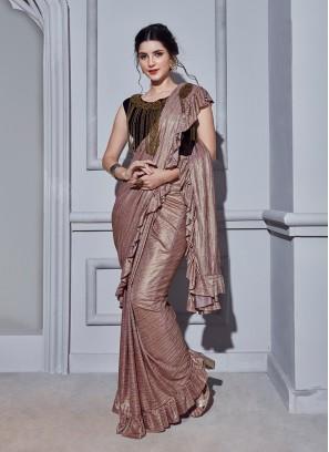 Peach Fancy Fabric Classic Designer Saree