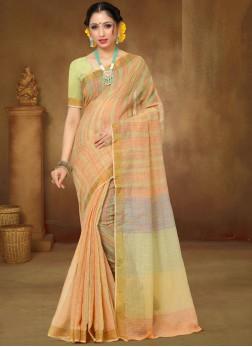 Peach Linen Ceremonial Classic Designer Saree