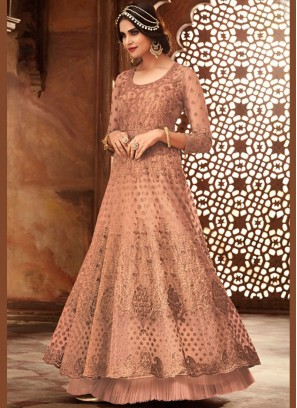Peach Net Floor Length Anarkali Suit