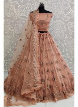 Peach Net Wedding Designer Lehenga Choli with Dupatta