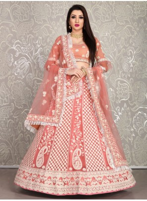 Peach Pink Bridal Lehenga with Dupatta and Blouse