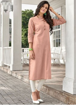 Peach Plain Cotton Casual Kurti