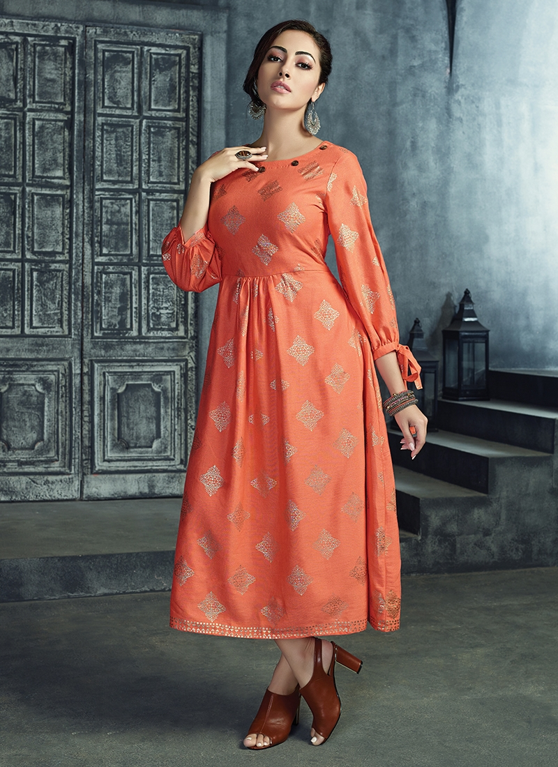 6b14baf09 Peach Rayon Party Party Wear Kurti