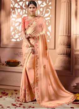 Peach Shimmer Georgette Designer Traditional Saree