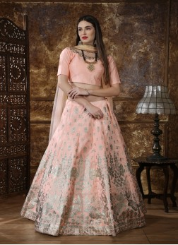 Peach Silk Embroidered Circular Lehenga