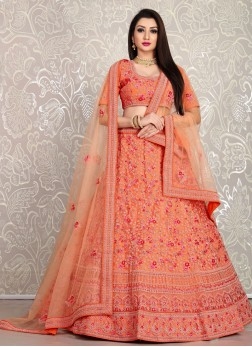 Peach Thread and Dori Embroidery Net Ghagra Choli