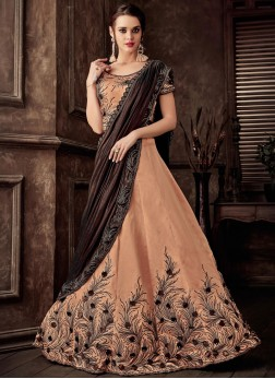Peach Wedding Lehenga Style Saree