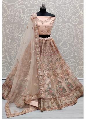 Peach Wondrous embroidered full of Zarkan diamond on Net wedding Lehenga choli