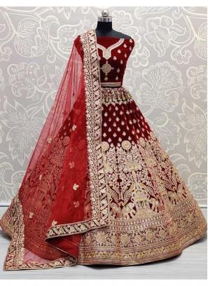 Peacock and Elephant Designed Wedding Theme Embroidered Maroon Bridal Lehenga Choli