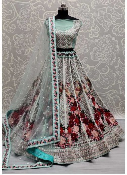 Peacock Design With Sequences Work Bridal Lehenga Choli In Cadet Blue