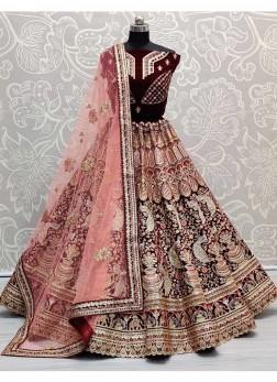 Peacock & Kalash Pattern Bridal Lehenga Choli In Velvet
