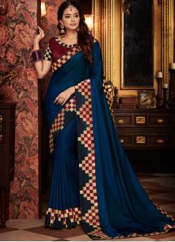 Peppy Art Silk Blue Traditional Designer Saree