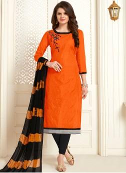 Embroidered Orange Cotton Churidar Casual salwar suits