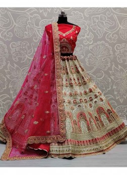 Perfect Pista & Red Wedding Silk Embroidery Leheng