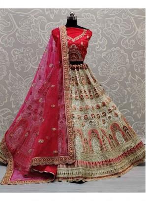 Perfect Pista & Red Wedding Silk Embroidery Lehenga Choli
