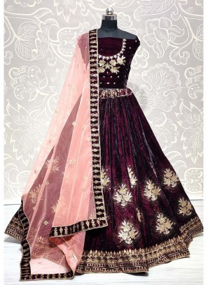Perfect Purple Embroidery and Sequins Touch Swarovski Lehenga Choli