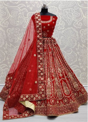 Perfectly Designed on Pure Velvet Heavy work Lehenga Choli in Red