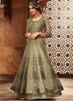 Perfervid Net Party Floor Length Anarkali Suit