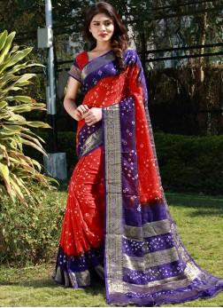 Perfervid Red Bandhej Traditional Saree