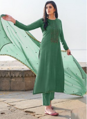 Picturesque Embroidery Georgette Pant Style Salwar Suit In Teal