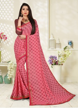 Pink Abstract Print Printed Saree