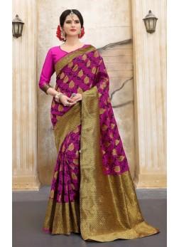 Pink and Golden silk base abstract print banarasi saree