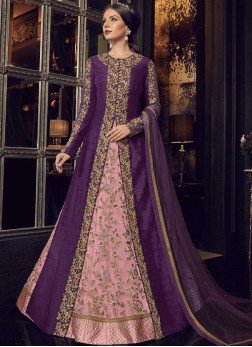 Pink and Purple Tissue Festival Floor Length Anarkali Suit