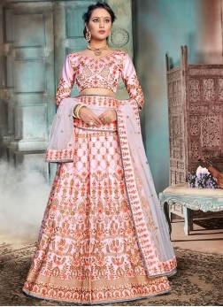 Pink Bridal Nylon Lehenga Choli