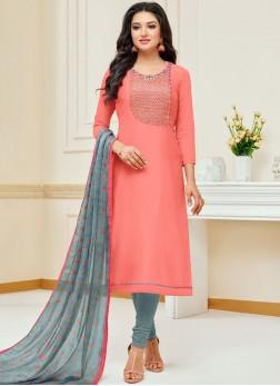 Pink Ceremonial Churidar Suit