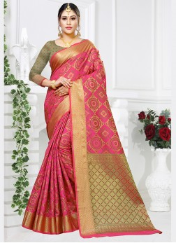 Pink Color Designer Traditional Saree