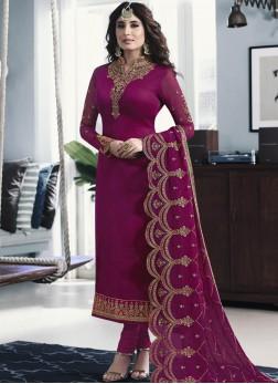 Pink Embroidered Georgette Satin Churidar Salwar Kameez