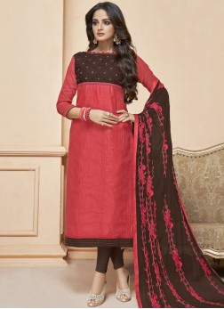Pink Fancy Fabric Churidar Suit