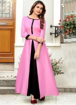 Pink Fancy Rayon Party Wear Kurti
