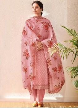 Pink Jacquard Digital Print Designer Salwar Kameez