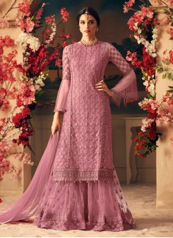 Pink Net Party Designer Palazzo Suit