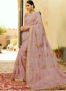 Pink Organza Bridal Designer Traditional Saree