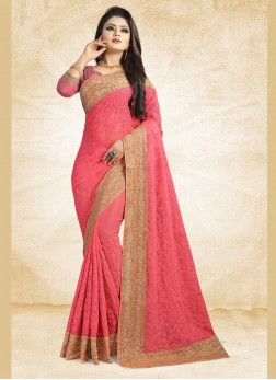 Pink Party Faux Chiffon Saree