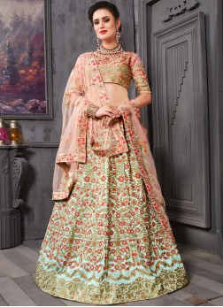 Pink Patch Border Bridal Lehenga Choli