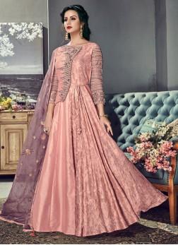 Pink Reception Floor Length Anarkali Suit