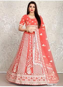 Pink Thread Embroidered Wedding Lehenga Choli For Bridesmaid