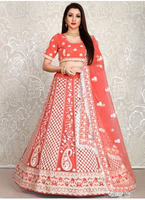 Pink Thread Embroidered Wedding Lehenga Choli For Bridesmaid