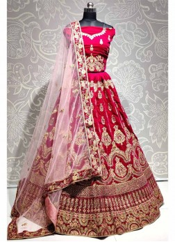 Pink Velvet Designer Lehenga Choli with Dupatta