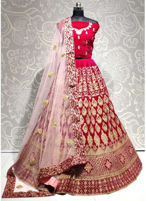 Pink Velvet Heavy Embroidered Bridal Lehenga Choli with Dupatta