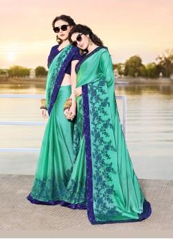 Piquant Chiffon Satin Aqua Blue Embroidered Designer Traditional Saree