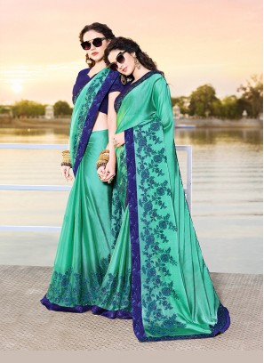 Piquant Chiffon Satin Aqua Blue Embroidered Designer Traditional Saree