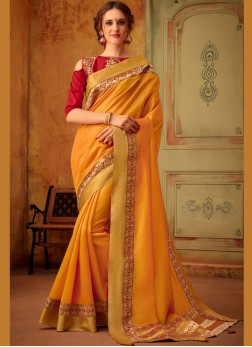 Piquant Cotton Silk Mustard Embroidered Trendy Saree