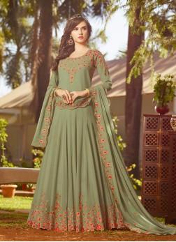 Piquant Green Embroidered Anarkali Salwar Suit