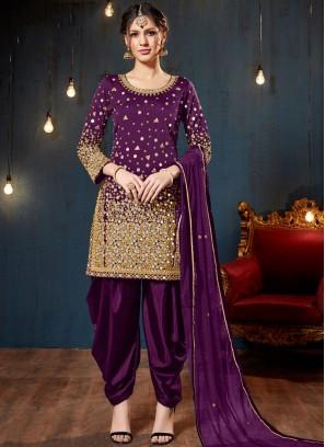 Piquant Tafeta Silk Designer Patiala Suit