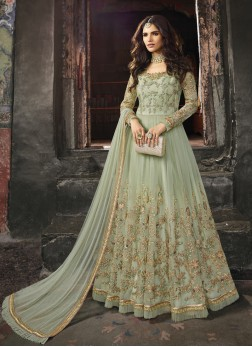 Zari Net Anarkali Salwar Kameez in green